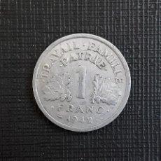 Monedas antiguas de Europa: ESTADO FRANCES 1 FRANC 1942 KM902.1. Lote 224396605