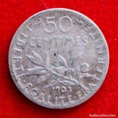 Monedas antiguas de Europa: 50 CENTIMES 1903 FRANCIA. AÑO DIFÍCIL Y COTIZADO! KM#854 PLATA. Lote 224620081
