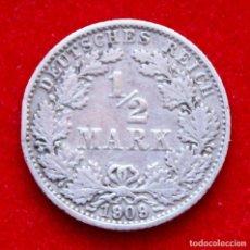 Monedas antiguas de Europa: 1/2 MARK 1909 G PLATA. IPERIO ALEMÁN. AÑO ESCASO Y COTIZADO. KM#17 ALEMANIA.. Lote 224622151