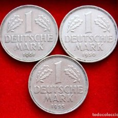 Monedas antiguas de Europa: 1 MARK 1950J, 1955G Y 1961F. LOTE DE 3 FECHAS ESCASAS. KM#110. Lote 224623247