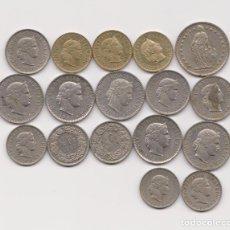 Monete antiche di Europa: LOTE DE 17 MONEDAS . SUIZA. VARIOS AÑOS.. Lote 226042315