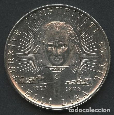 TURQUIA, MONEDA DE PLATA, ANNIVERSARY OF REPUBLIC, VALOR: 50 LIRA, 1973, COIN SILVER (Numismática - Extranjeras - Europa)