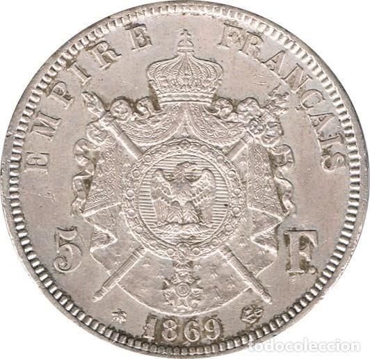 Monedas antiguas de Europa: FRANCIA. NAPOLEÓN III, 5 FRANCOS 1.869 PARÍS - Foto 2 - 39430604