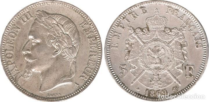 Monedas antiguas de Europa: FRANCIA. NAPOLEÓN III, 5 FRANCOS 1.869 PARÍS - Foto 3 - 39430604