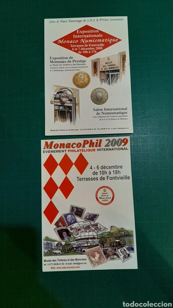 MONACO.POSTALES 2008 /2009 PUBLICIDAD MATASELLO NUMISMÁTICA O ALMACÉN DO COLISEVM FILATELIA (Numismática - Extranjeras - Europa)