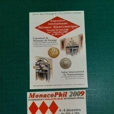Monedas antiguas de Europa: MONACO.POSTALES 2008 /2009 PUBLICIDAD MATASELLO NUMISMÁTICA O ALMACÉN DO COLISEVM FILATELIA. Lote 227560405