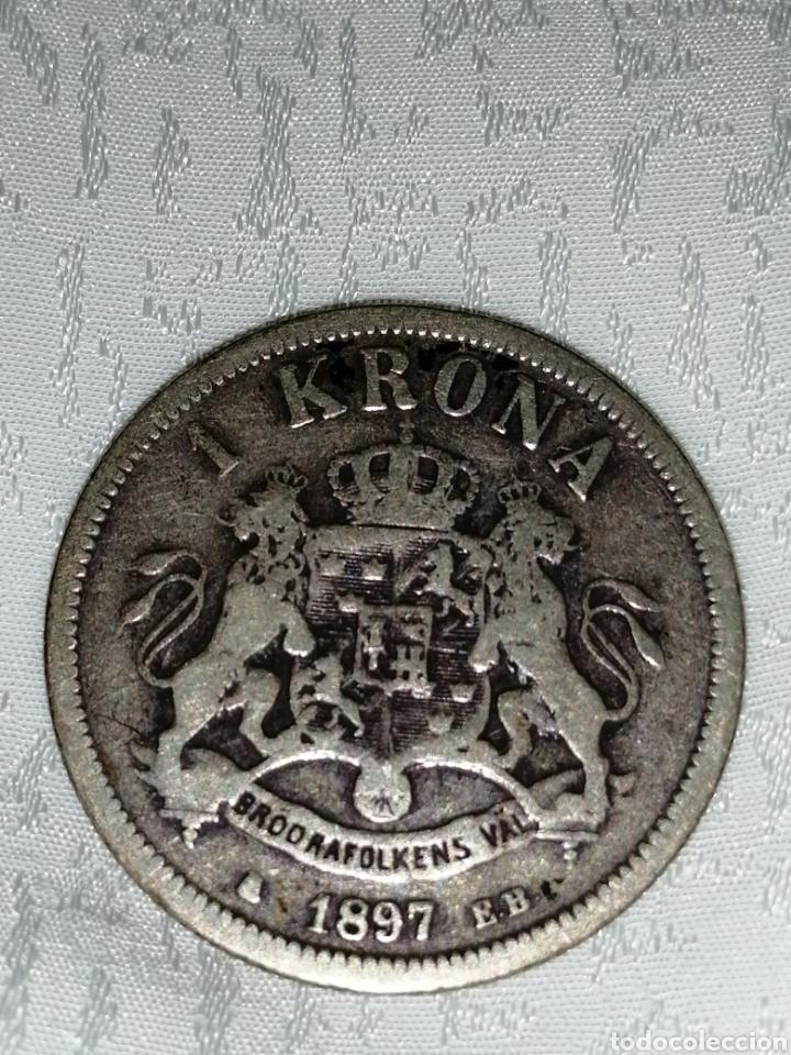 MONEDA PLATA DE 1 KRONA 1897 (Numismática - Extranjeras - Europa)