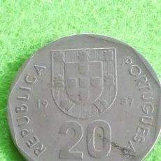 Monedas antiguas de Europa: 20 ESCUDOS DE LA REPÚBLICA PORTUGUESA DE 1987.. Lote 229012501