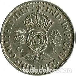 DOS CHELINES DE PLATA, INGLATERRA, DEL REY JORGE VI, CON 'IND:IMP', 1942. (Numismática - Extranjeras - Europa)