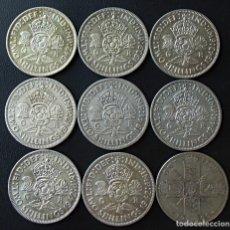 Monedas antiguas de Europa: GRAN BRETAÑA 2 CHELINES (1 FLORÍN) PLATA SILVER, LOTE 9 MONEDAS, PESO TOTAL 100 GRAMOS.. Lote 232461580
