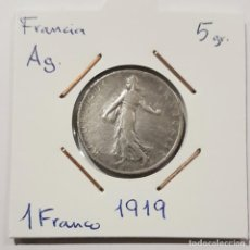Monedas antiguas de Europa: FRANCIA, 1 FRANC, DE 1919, DE PLATA. ORIGINAL.. Lote 234583875