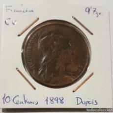 Monedas antiguas de Europa: FRANCIA, 10 CENTIMES, 1898. ORIGINAL.. Lote 234584615