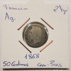 Monedas antiguas de Europa: FRANCIA, 50 CENTIMOS, DE 1868. DE PLATA. ORIGINAL.. Lote 234617935