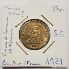 Monedas antiguas de Europa: FRANCIA, BON POUR 1 FRANC, DE 1921. ORIGINAL.. Lote 234618150