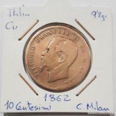 Monedas antiguas de Europa: ITALIA, 10 CENTESIMI, DE 1862. ORIGINAL. Lote 234637165