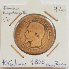Monedas antiguas de Europa: FRANCIA, 10 CENTIMES, 1856. ORIGINAL.. Lote 234655650
