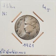 Monedas antiguas de Europa: ITALIA, 20 CENTESIMOS, DE 1921. ORIGINAL.. Lote 234720075