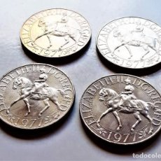Moedas antigas da Europa: JUBILEO DE PLATA CORONA ELIZABETH II 1977 GB UK 4 MONEDAS REINO UNIDO - 28.55 GRAMOS CADA UNA. Lote 234769015