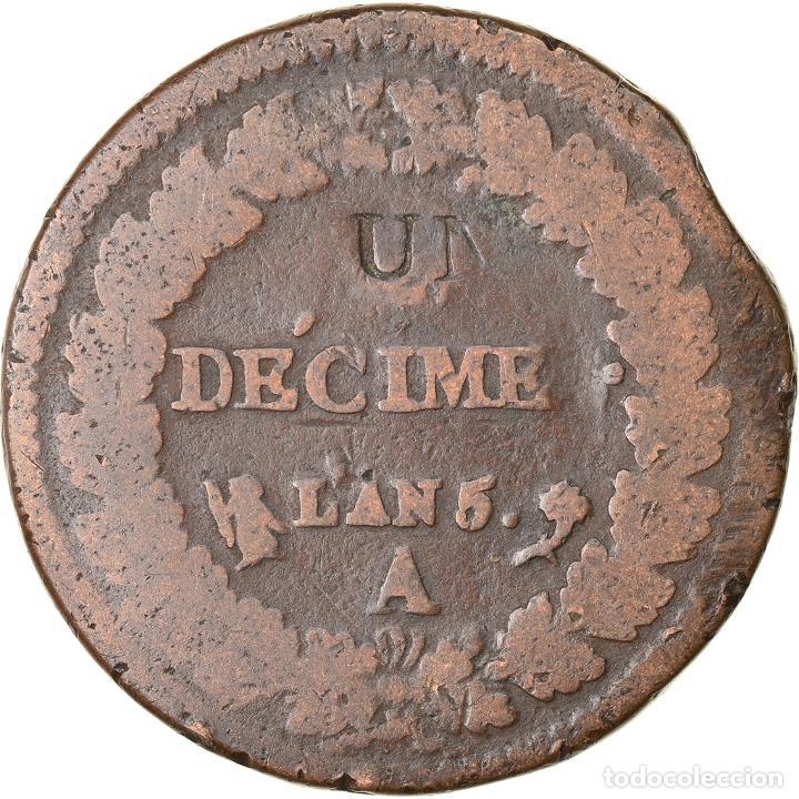 Monedas antiguas de Europa: Moneda, Francia, Decime, AN 5, Paris, Modification du 2 décimes, BC+, Cobre - Foto 2 - 234896310