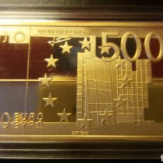 Moedas antigas da Europa: EXCLUSIVO LINGOTE 500 € ORO 24K LAMINADO. Lote 235306455