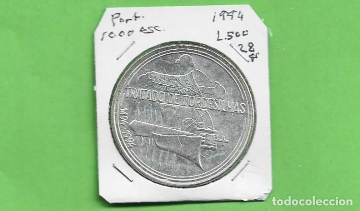 PLATA-PORTUGAL. 1000 ESCUDOS 1994. TRATADO TORDESILLAS. 28 GRAMOS DE LEY 0,500 (Numismática - Extranjeras - Europa)