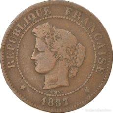 Monedas antiguas de Europa: MONEDA, FRANCIA, CÉRÈS, 5 CENTIMES, 1887, PARIS, BC+, BRONCE, KM:821.1. Lote 236370030