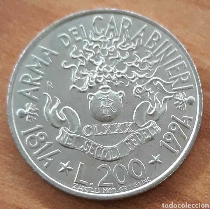MONEDA CONMEMORATIVA ITALIA 200 LIRAS ARMA DEL CARABINIERI 1814 - 1994 (Numismática - Extranjeras - Europa)