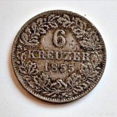 Monnaies anciennes de Europe: 1855 ALEMANIA 6 KREUZER. Lote 243042225