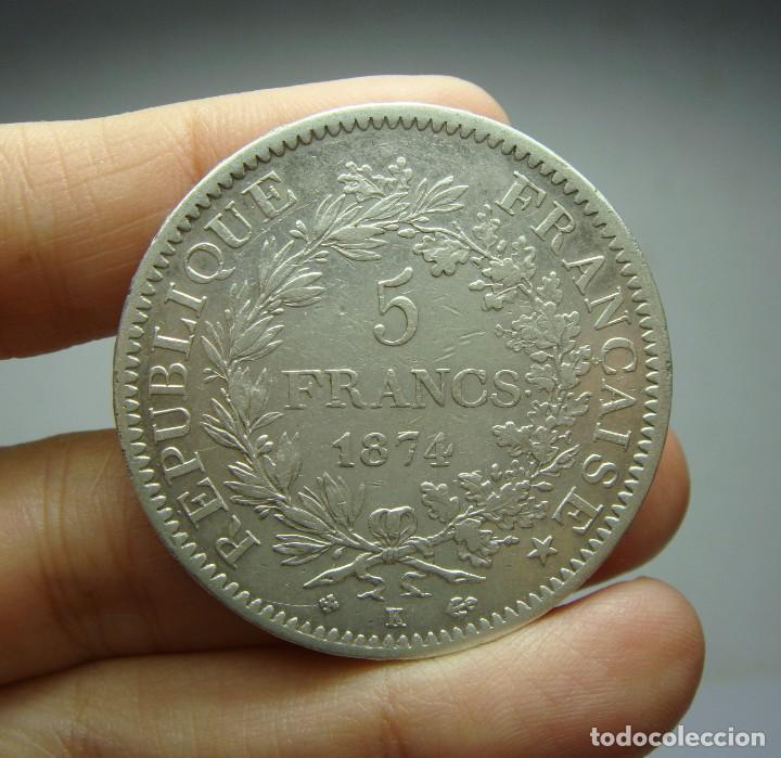 Monedas antiguas de Europa: 5 Francos. Plata. República Francesa - Hercules - 1874 - Bourdeaux - Foto 2 - 243639520