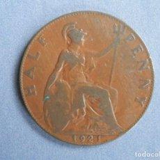 Monedas antiguas de Europa: INGLATERRA MONEDA HALF PENNY AÑO 1921 CONSERVACIÓN: BC. Lote 244612290