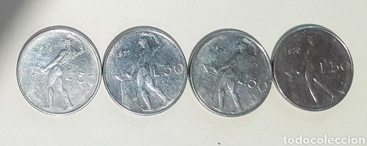 ITALIA. CUATRO MONEDAS DE 50 LIRAS. AÑOS 1976, 77, 78 Y 79 (Numismática - Extranjeras - Europa)