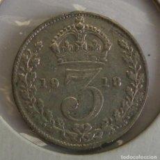 Monedas antiguas de Europa: 3 PENCE DE INGLATERRA DE 1918. Lote 244866270