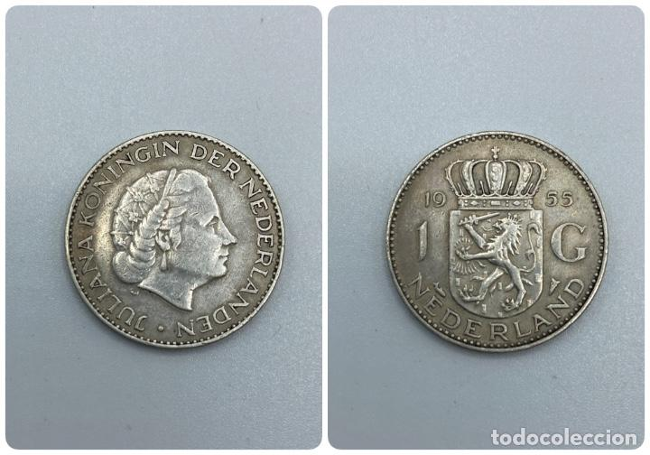 MONEDA. HOLANDA. 1 GULDEN. JULIANA KONINGIN. 1955. VER FOTOS (Numismática - Extranjeras - Europa)