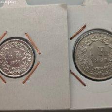Monedas antiguas de Europa: 2X MONEDAS 1/2 Y 1 FRANCO PLATA SUIZA 1960 Y 1963. Lote 247710435