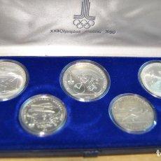 Monedas antiguas de Europa: RUSIA - OLIMPIADAS DE MOSCU 198O. ESTUCHE OFICIAL CON 5 MONEDAS DE PLATA FDC DE 1978. LOTE 3734. Lote 248584280