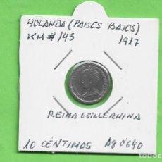 Monedas antiguas de Europa: PLATA-HOLANDA. 10 CENTIMOS 1917. 1,3 GRAMOS DE LEY 0,640. KM#145. Lote 248641815