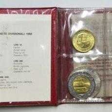 Monedas antiguas de Europa: SAN MARINO CARTERA OFICIAL 1992 - 10 MONEDAS, 1 EN PLATA - FDC. LOTE. 3737. Lote 248695975