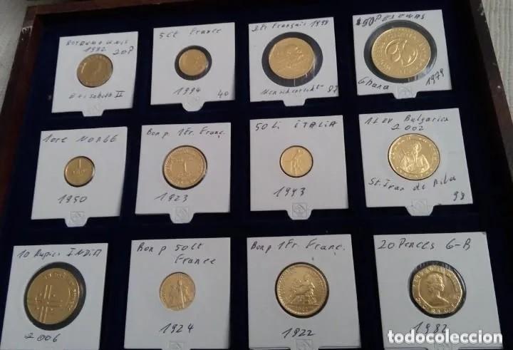 CURIOSA COLECCION DE 12 MONEDAS CHAPADAS EN ORO DE DIFERENTES PAISES Y EN UN ESTUCHE DE MADERA (Numismática - Extranjeras - Europa)