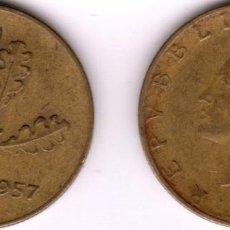 Monedas antiguas de Europa: ITALIA MONEDA 20 LIRAS AÑO 1957 CANTO ESTRIADO(1957/1959) KM97.1 FECHA ESCASA. Lote 252059055