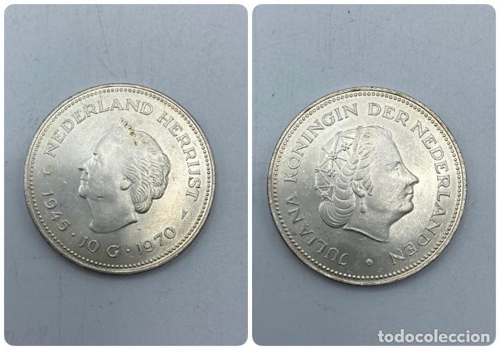 HOLANDA. 10 GULDEN DE PLATA. GUILLERMINA Y JULIANA. AÑO 1945 - 1970. VER FOTOS (Numismática - Extranjeras - Europa)