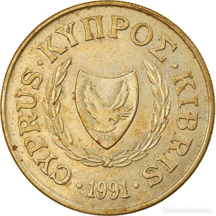 MONEDA, CHIPRE, 20 CENTS, 1991, BC+, NÍQUEL - LATÓN, KM:62.2 (Numismática - Extranjeras - Europa)