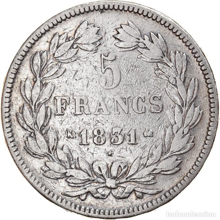 Monedas antiguas de Europa: Moneda, Francia, Louis-Philippe, 5 Francs, 1831, Bordeaux, BC, Plata, KM:745.7 - Foto 2 - 253560095