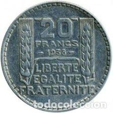 Monedas antiguas de Europa: -FRANCIA- 20 FRANCOS AÑO 1938-TIPO *TURIN* 20 GRAMOS PLATA-(3ª REPUBLICA) KM#879.ESCASA. Lote 217486803