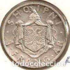 Monedas antiguas de Europa: ALBANIA. 1 FRANG AR 1937. KM 16. PLATA.. Lote 254430645