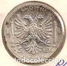 ALBANIA. OCUPACIÓN ITALIANA II G.M. 5 LEK 1939. KM 33. PLATA. (Numismática - Extranjeras - Europa)