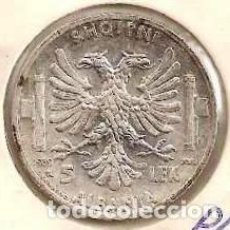 Monedas antiguas de Europa: ALBANIA. OCUPACIÓN ITALIANA II G.M. 5 LEK 1939. KM 33. PLATA.. Lote 254430670
