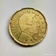 """Monedas antiguas de Europa: LUXEMBURGO. 20 CTS. 2006. EXCESO METAL EN EL """"0"""" DEL REVERSO.. Lote 254648360"""
