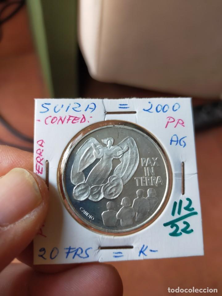 MONEDA DE 20 VEINTE FRANCOS 2000 PRUEBA PLATA SUIZA PAX IN TERRA (Numismática - Extranjeras - Europa)