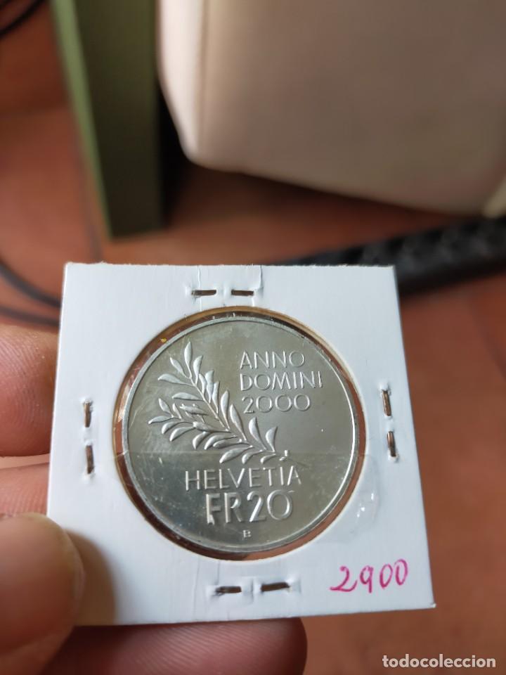 Monedas antiguas de Europa: MONEDA DE 20 VEINTE FRANCOS 2000 PRUEBA PLATA SUIZA PAX IN TERRA - Foto 2 - 254993420
