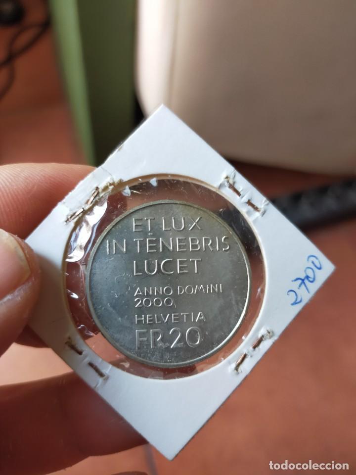 Monedas antiguas de Europa: MONEDA DE 20 VEINTE FRANCOS 2000 PRUEBA PLATA SUIZA LUMEN CHRISTI - Foto 2 - 254993725